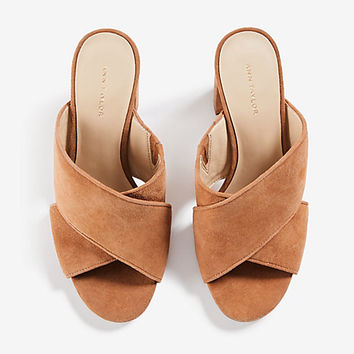 Jeanette Suede Heeled Sandals | Ann Taylor