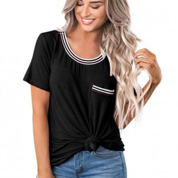 Casual Womens Black Be About It Basic Pol Tee
