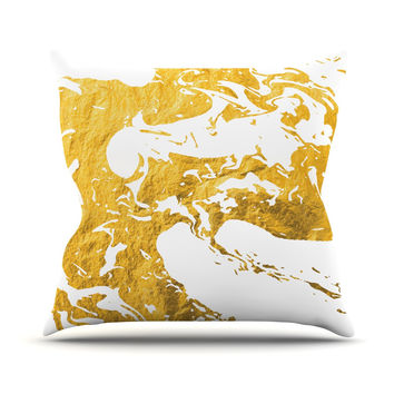 "KESS Original ""Gold Ink on Water"" White Metal Throw Pillow"