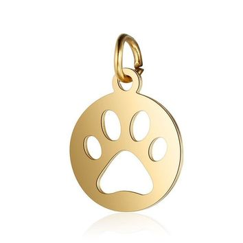 2 Pcs Stainless Steel Dog Paw Charm Animal Charms For DIY Jewelry Making