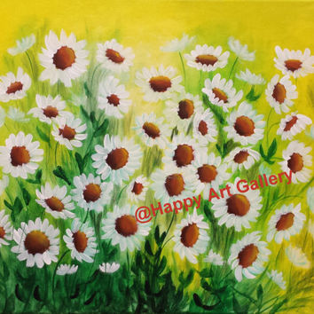 "spring decor, spring Abstract painting Daisies home decor home & living, white wild flower Art Acrylic on Canvas Wall Decor Original 20""X16"""