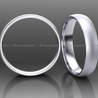 14K White Gold Wedding Band, 4.00mm Wide