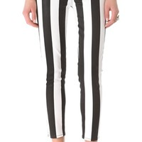 Coated Striped Cigarette Jeans