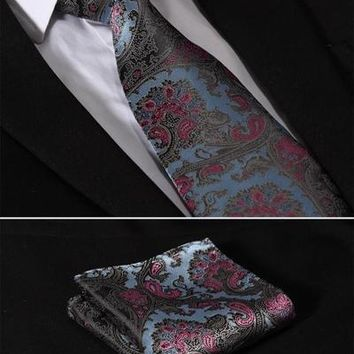 "TF2006B8 Blue Pink Paisley Floral 3.4"" Silk Lots Wedding Gravata Jacquard Mans Tie Necktie Pocket Square Handkerchief Set Suit"