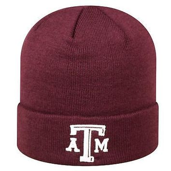 Licensed Texas A&M Aggies NCAA Cuffed Knit Tow Beanie Stocking Stretch Sock Hat Cap KO_19_1