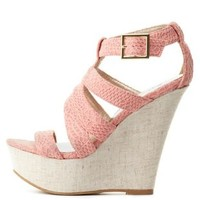 Salmon Qupid Textured Strappy Platform Wedges