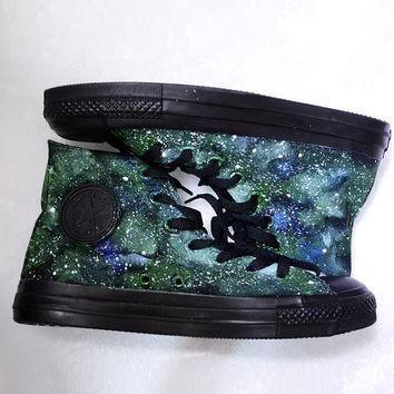 painted shoes converse galaxy converse Custom galaxy Green galaxy Black canvas shoes