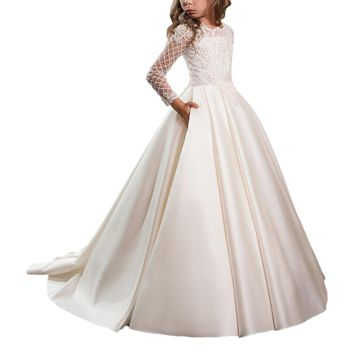 Abaowedding customise white first communion dresses for girls 10 vestidos de comunion para ninas 2017 lace flower girl dresses