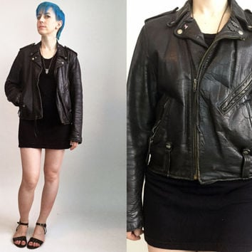 70s Clothes/ 70s Harley Davidson Jacket Vintage Black Leather Motorcycle Jacket With Daytona Pins Biker Jacket