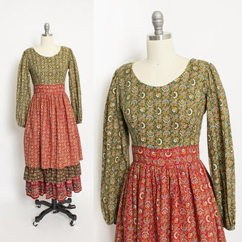 Vintage 1960s Dress - Hippie Boho Ethnic Print Tiered 60s - Small