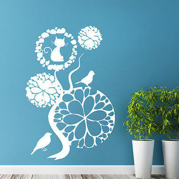 Tree Wall Decals Birds Decal Cat Vinyl Stickers Bedroom Nursery Home Decor DS374