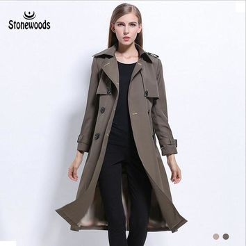 Trench Coat For Women British Style Double Breasted Coat  Plus Size Long Slim Peacoat Women Basic Coats Windbreaker Winter Coat