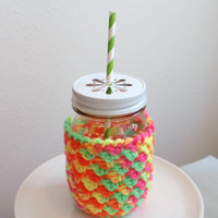Daisy Cut Lid Mason Jar Cozy Sherbet Swirl 16 oz. PINT Size Kid's Gift, Special Birthday, Get Well Gift, Teacher Gift, Sister