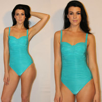 Vintage 90s One Piece Swimsuit, Aqua Blue BUSTIER Bust, RUCHING Bathing Suit, Sexy Swimwear by La Blanca