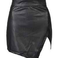 Womens Fashion Black Asymmetrical Leather Bodycon Pencil Mini Skirt