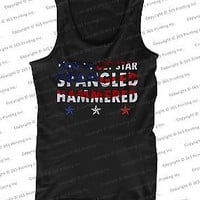 July 4th Red White and Blue American Flag Star Spangled Hammered Men's Tank Tops