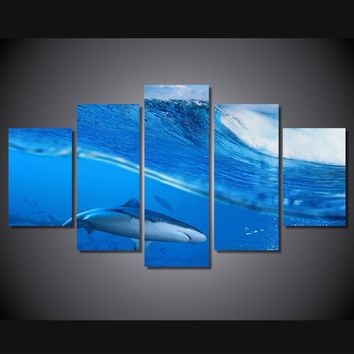 HD Printed Big Wave Blue Ocean with Shark 5 panel pwall art print on canvas