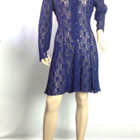 90s Sheer Lace Grunge Dress Stevie Nicks Blue Corset Dress Goth Hippie Festival  Boho Midi Dress s small m medium 34 bust
