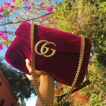 GUCCI Women Messengers Bag Leather Metal Chain Satchel Shoulder Bag Velvet Rose red