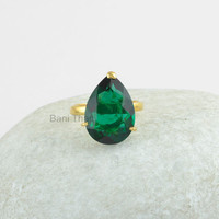 925 Silver Ring-Prong Set Ring-Pear 12x16mm Ring-Emerald Quartz Gemstone Ring-Gold Plated 925 Silver Ring-Christmas Partywear Jewelry