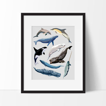 Whales Printable - Watercolor Whale Wall Art - Whales Nursery Art - Whale Nursery Decor - Watercolor Whales - PRINTABLE 24x35 Poster Size