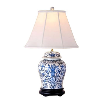 Beautiful Blue and White Porcelain Temple Jar Table Lamp Chinoiserie Floral 29""