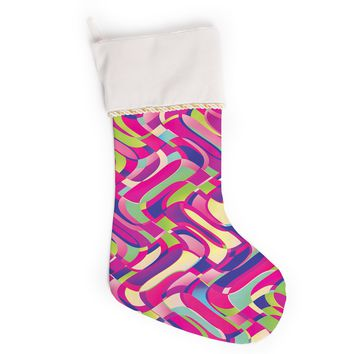 """Dawid Roc """"Colorful Movement"""" Pink Abstract Christmas Stocking"""