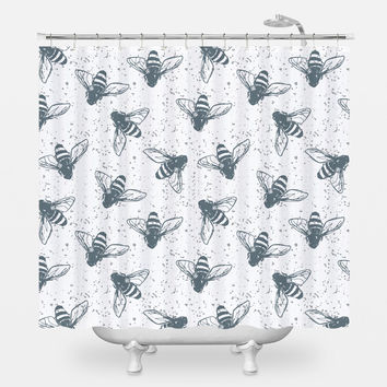 Grunge Bees Shower Curtain