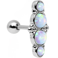 "16 Gauge 1/4"" White Synthetic Opal Ornate Quartet Cartilage Earring 
