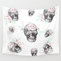 Steampunk Tapestry Skull Flowers Pink Floral  Wall Tapestry Home Dorm Room Office Wall Decor