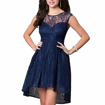 Women's Retro Lace High-Low Formal Cocktail Party Dress Vintage Sexy Mesh Swing Ball Gown Dresses