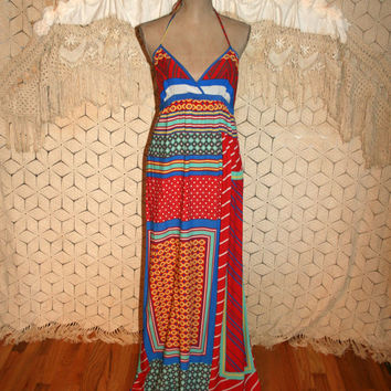 Hippie Maxi Dress Aztec Tribal Halter Dress Rayon Beach Dress Boho Summer Dress Hippie Clothing Anthropologie Medium Large Womens Clothing