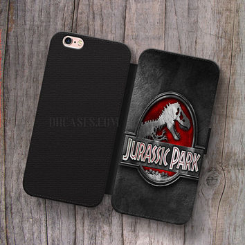 Wallet Leather Case for iPhone 4s 5s 5C SE 6S Plus Case, Samsung S3 S4 S5 S6 S7 Edge Note 3 4 5 Jurassic Park Cases