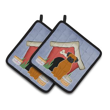 Dog House Collection Fawn Boxer Pair of Pot Holders