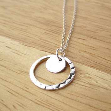 Sterling Silver Hammered Circle Ring and Tiny Disc Necklace, Simple Modern Everyday Wear