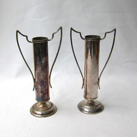 Antique pair art deco 1930s silver plate trophy style bud vases