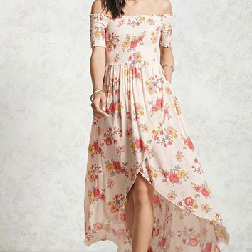 Floral Smocked High-Low Dress