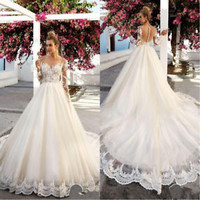 Illusion Neck Ivory Bridal Wedding Dress with Long Sleeves Custom Size 2 4 6 8