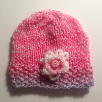 Handknitted Baby Girl Beanie Hat, Handknitted Baby Clothes, Baby Hat, Baby Beanie, 0-6 months Hat, Newborn, Reborn Doll Clothes, Knit