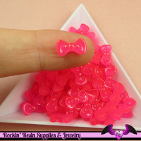 10 pcs HOT PINK Jelly BOW Cabochon Tiny Nail Art Resin Flatback Nail Cabochons