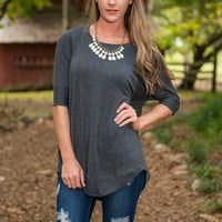 Solely Simple Top, Charcoal
