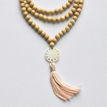 Light Wood and Carved Mother of Pearl Mala Beads-Designer Silk Mala
