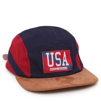 Official Crown of Laurel USA Camper 5 Panel Hat - Mens Backpack - Red/White/Blue - One