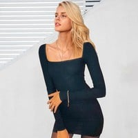 Solid Square Neck Black Skinny Long Sleeve Mini Short Dress