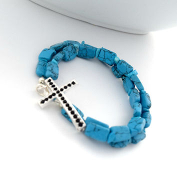 Turquoise Christian Cross Bracelet, Double Wrap Christian Bracelet, Christian Jewelry, Cross Bracelet For Her, Christian Gift