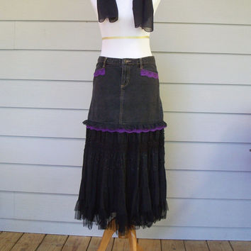 Bewitching Black Denim Jean and Broomstick Skirt