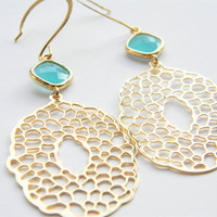 Matte Gold Filigree Pendant Dangle Earrings with Mint Faceted Glass Drops