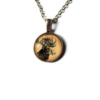 Cervidae charm Moose pendant Wild animal necklace Antique art jewelry Vintage style n197