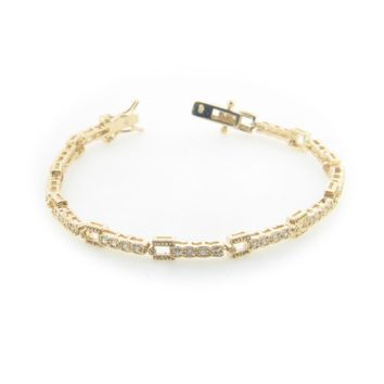 Sterling Silver Gold Plated Art Deco Cz Bracelet Box and Safety Closure