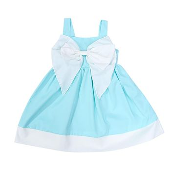 Baby Girls Dress Kids Solid Color Bow knot Sleeveless Backless Princess Dress for Birthday Party Costume